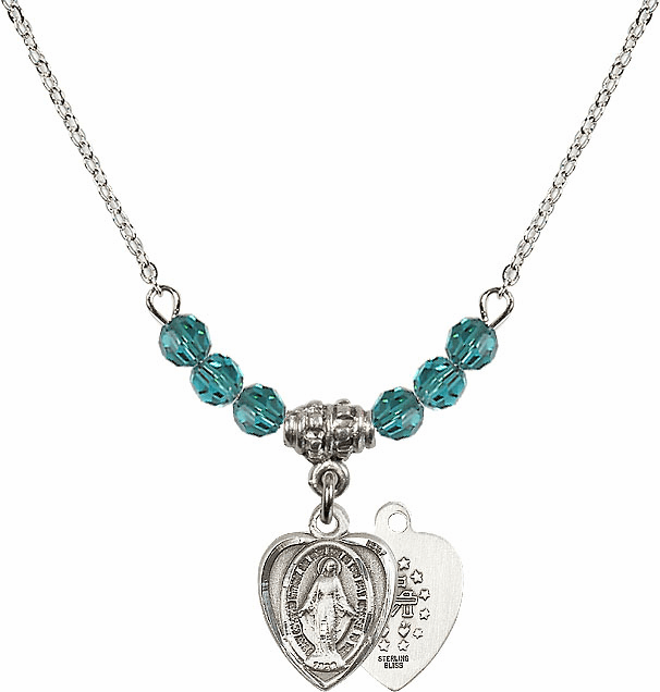 Sterling Silver Heart Shape Miraculous Medal Sterling December Zircon 4mm Swarovski Crystal Necklace by Bliss Mfg