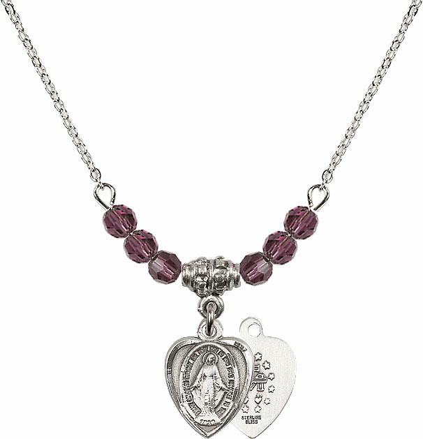 Sterling Silver Heart Shape Miraculous Medal Sterling February Amethyst 4mm Swarovski Crystal Necklace by Bliss Mfg