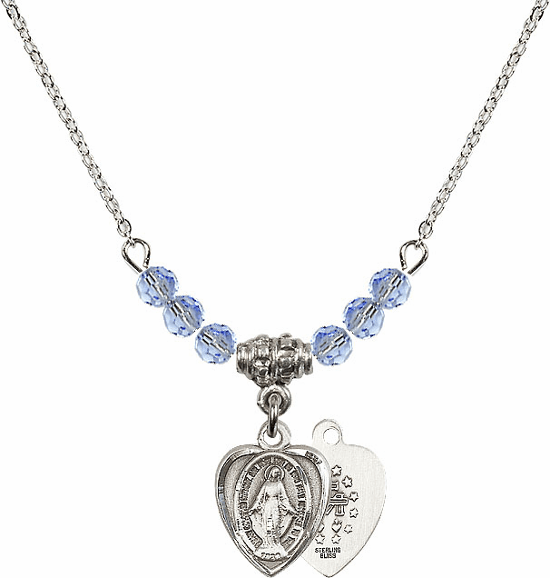 Sterling Silver Heart Shape Miraculous Medal Sterling Lt Sapphire 4mm Swarovski Crystal Necklace by Bliss Mfg