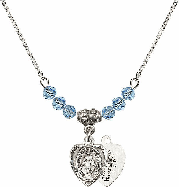 Sterling Silver Heart Shape Miraculous Medal Sterling March Aqua 4mm Swarovski Crystal March Aqua Necklace by Bliss Mfg