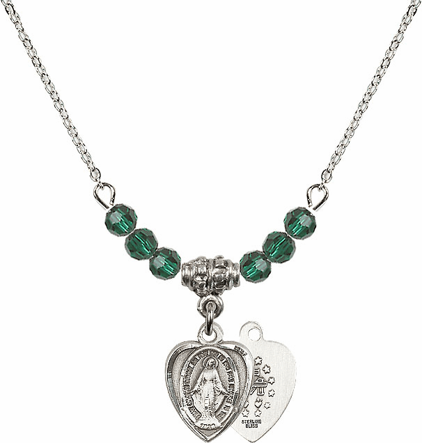 Sterling Silver Heart Shape Miraculous Medal Sterling May Emerald 4mm Swarovski Crystal Necklace by Bliss Mfg