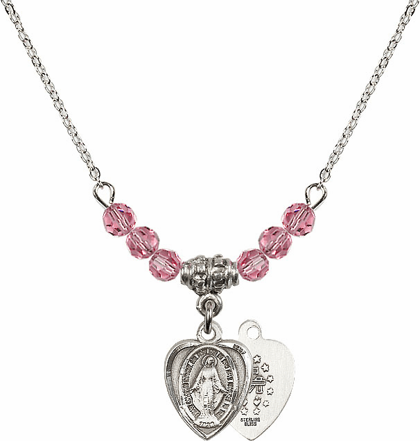Sterling Silver Heart Shape Miraculous Medal Sterling October Rose 4mm Swarovski Crystal Necklace by Bliss Mfg