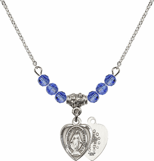 Sterling Silver Heart Shape Miraculous Medal Sterling September Sapphire 4mm Swarovski Crystal Necklace by Bliss Mfg