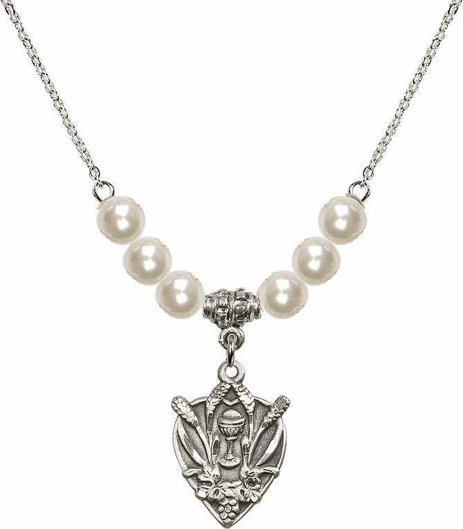 Sterling Silver Heart Wheat Chalice Sterling 6mm Faux Pearlsl Necklace by Bliss Mfg