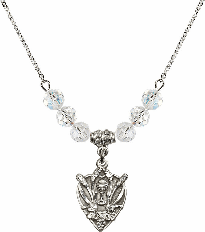 Sterling Silver Heart Wheat Chalice Sterling April 6mm Swarovski Crystal Necklace by Bliss Mfg