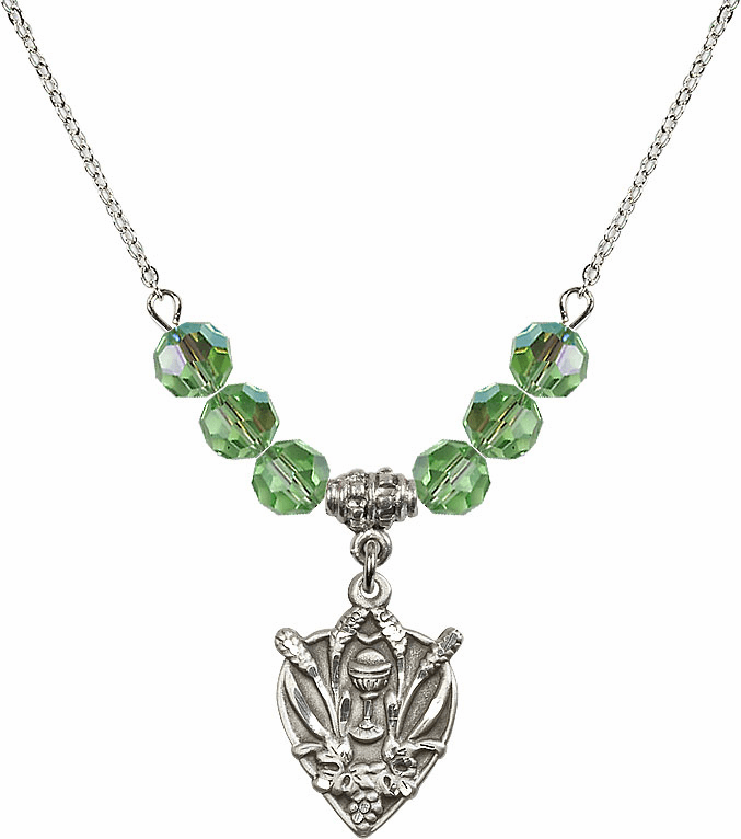 Sterling Silver Heart Wheat Chalice Sterling August Peridot 6mm Swarovski Crystal Necklace by Bliss Mfg