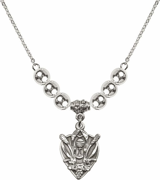 Sterling Silver Heart Wheat Chalice Sterling Charm w/6mm Silver Beaded Necklace by Bliss Mfg