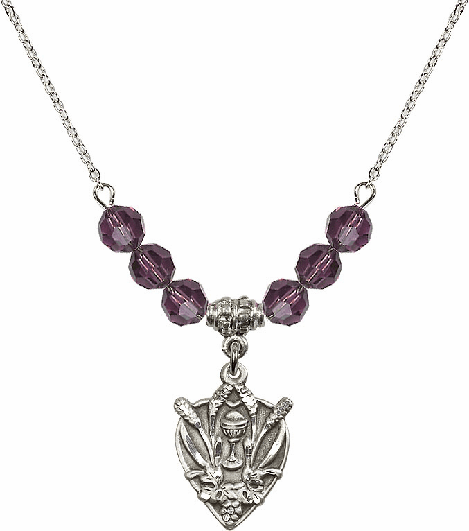 Sterling Silver Heart Wheat Chalice Sterling February Amethyst 6mm Swarovski Crystal Necklace by Bliss Mfg