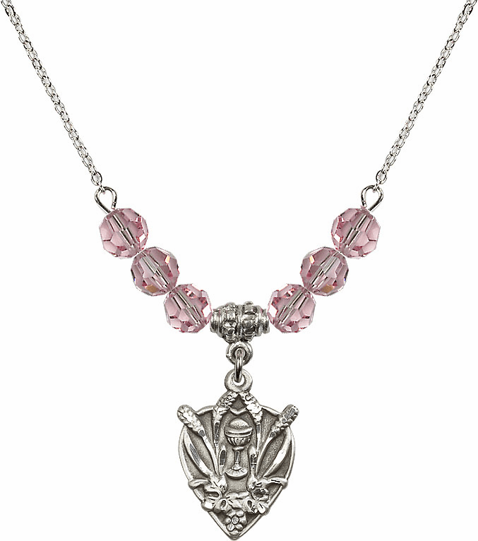 Sterling Silver Heart Wheat Chalice Sterling Lt Rose 6mm Swarovski Crystal Necklace by Bliss Mfg
