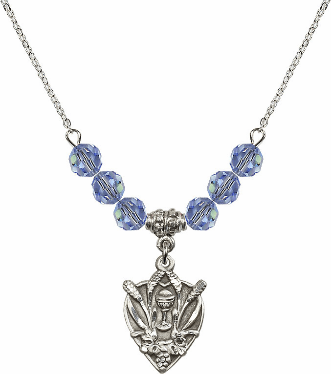 Sterling Silver Heart Wheat Chalice Sterling Lt Sapphire 6mm Swarovski Crystal Necklace by Bliss Mfg