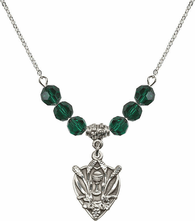 Sterling Silver Heart Wheat Chalice Sterling May Emerald 6mm Swarovski Crystal Necklace by Bliss Mfg