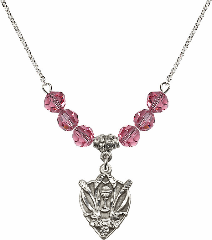 Sterling Silver Heart Wheat Chalice Sterling October Rose 6mm Swarovski Crystal Necklace by Bliss Mfg
