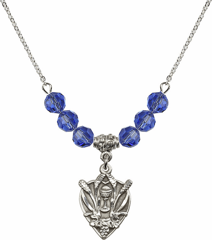 Sterling Silver Heart Wheat Chalice Sterling September Sapphire 6mm Swarovski Crystal Necklace by Bliss Mfg