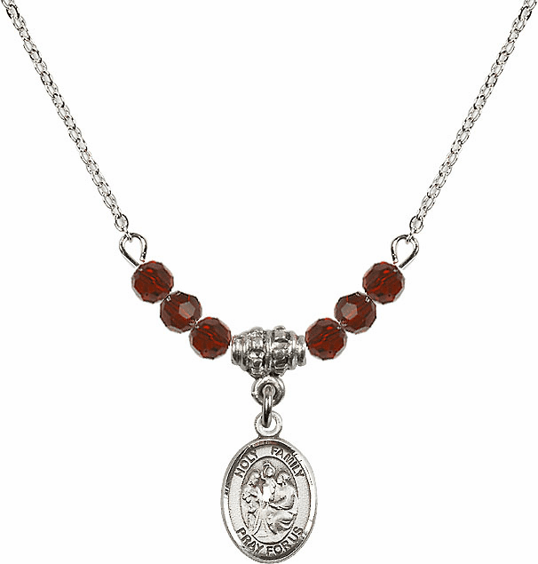 Holy Family Sterling 4mm January Garnet Swarovski Crystal Necklace by Bliss Mfg