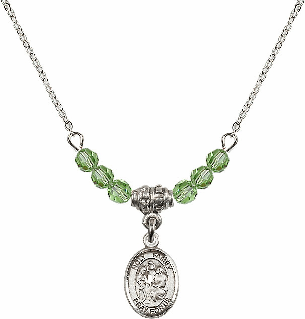 Holy Family Sterling August Peridot 4mm Swarovski Crystal Necklace by Bliss Mfg