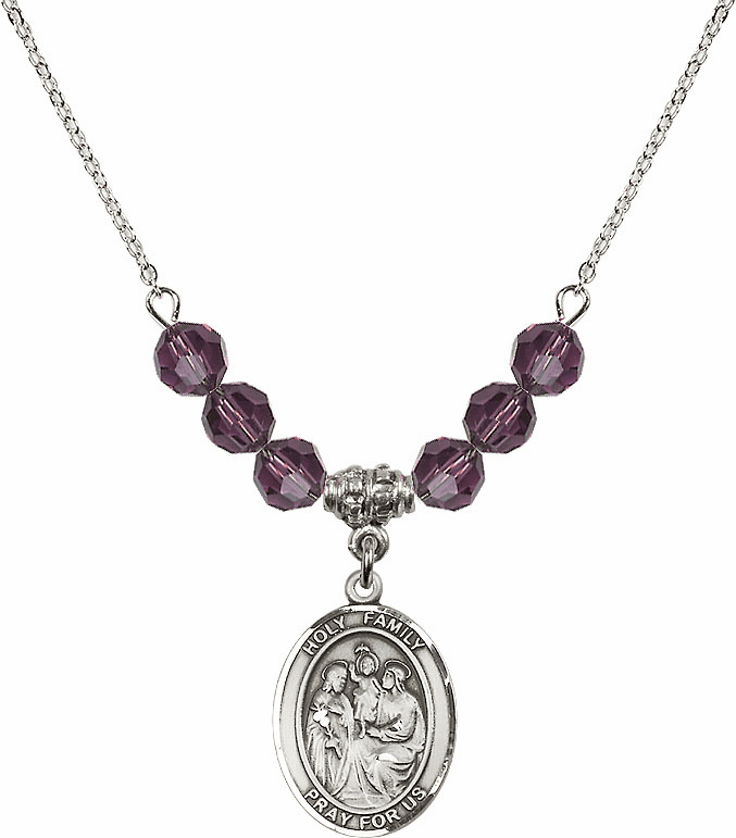 Holy Family Sterling February Amethyst Swarovski Crystal Beaded Necklace by Bliss Mfg
