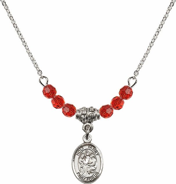 Holy Family Sterling July Ruby 4mm Swarovski Crystal Necklace by Bliss Mfg