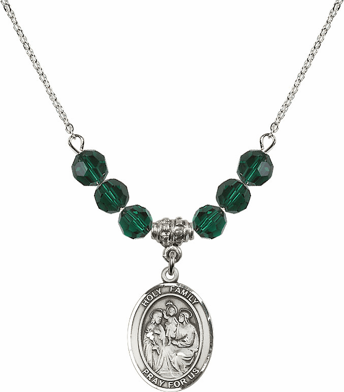 Holy Family Sterling May Emerald Swarovski Crystal Beaded Necklace by Bliss Mfg