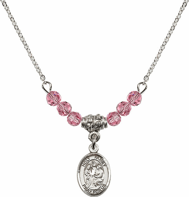 Holy Family Sterling October Rose 4mm Swarovski Crystal Necklace by Bliss Mfg