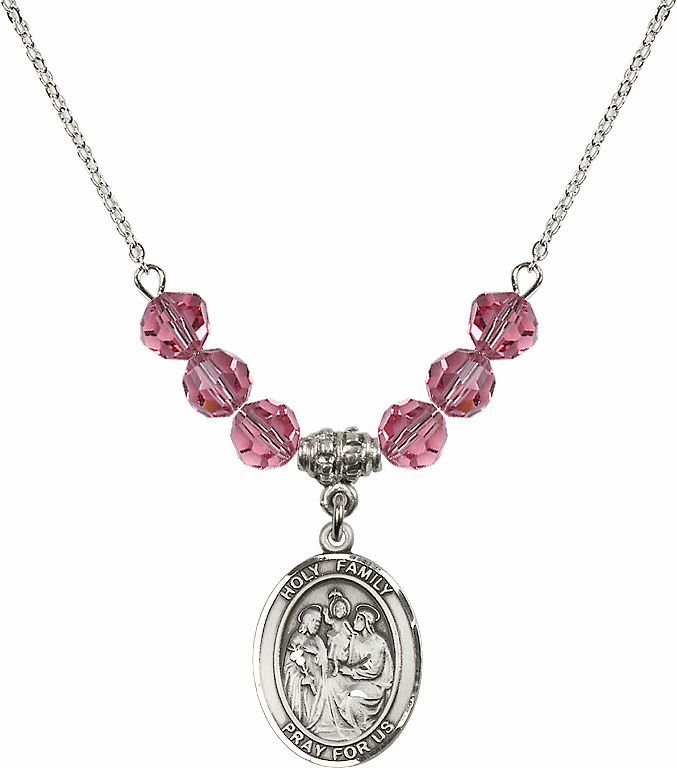 Holy Family Sterling October Rose Swarovski Crystal Beaded Necklace by Bliss Mfg