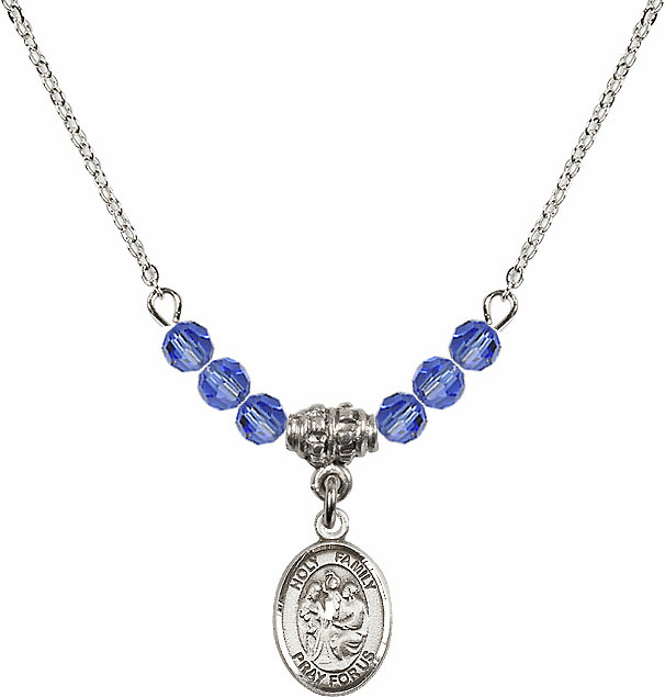 Holy Family Sterling September Sapphire 4mm Swarovski Crystal Necklace by Bliss Mfg