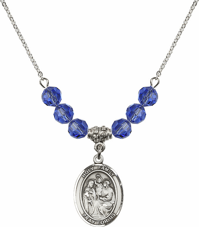 Holy Family Sterling September Sapphire Swarovski Crystal Beaded Necklace by Bliss Mfg
