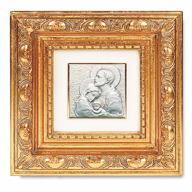 Sterling Silver Holy Family w/Antique Gold Leaf Frame Picture by Salerni