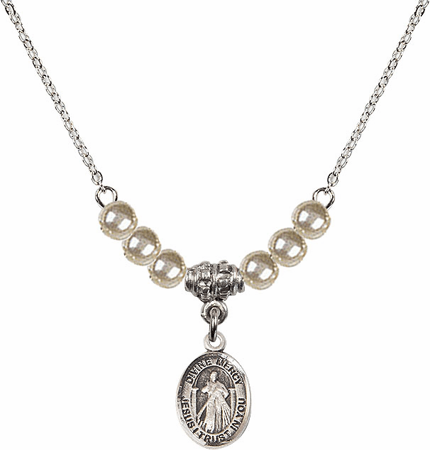 Sterling Silver Jesus Divine Mercy Sterling 4mm Faux Pearls Necklace by Bliss Mfg