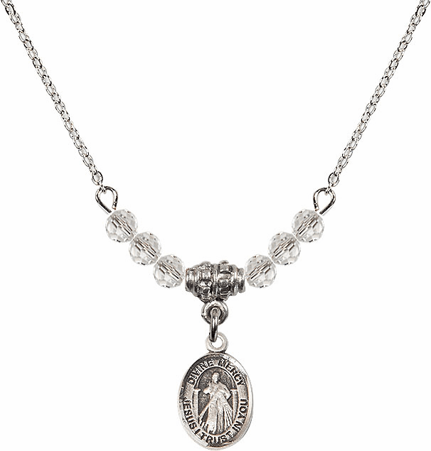 Sterling Silver Jesus Divine Mercy Sterling April 4mm Swarovski Crystal Necklace by Bliss Mfg