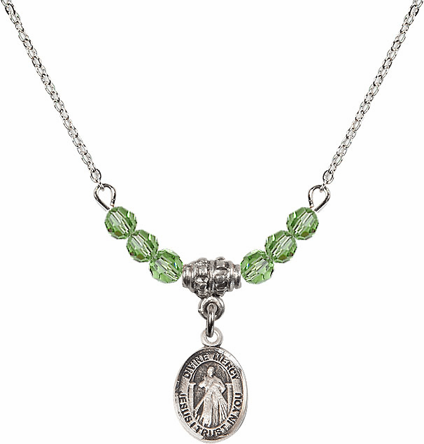 Sterling Silver Jesus Divine Mercy Sterling August Peridot 4mm Swarovski Crystal Necklace by Bliss Mfg