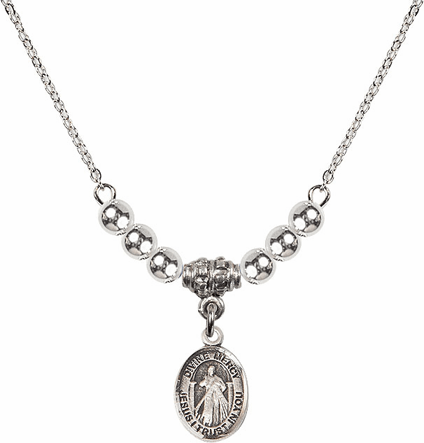 Sterling Silver Jesus Divine Mercy Sterling Charm w/4mm Silver Beaded Necklace by Bliss Mfg