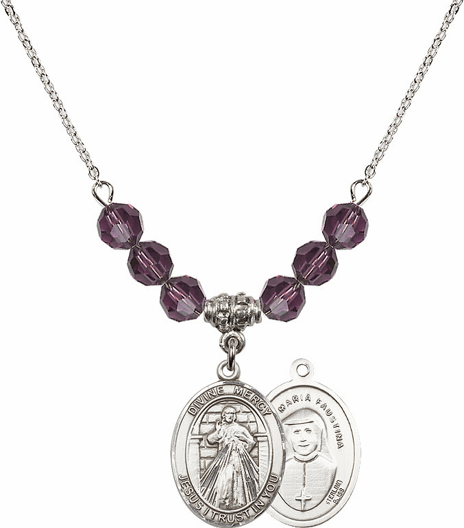 Sterling Silver Jesus Divine Mercy Sterling February Amethyst Swarovski Crystal Beaded Necklace by Bliss Mfg