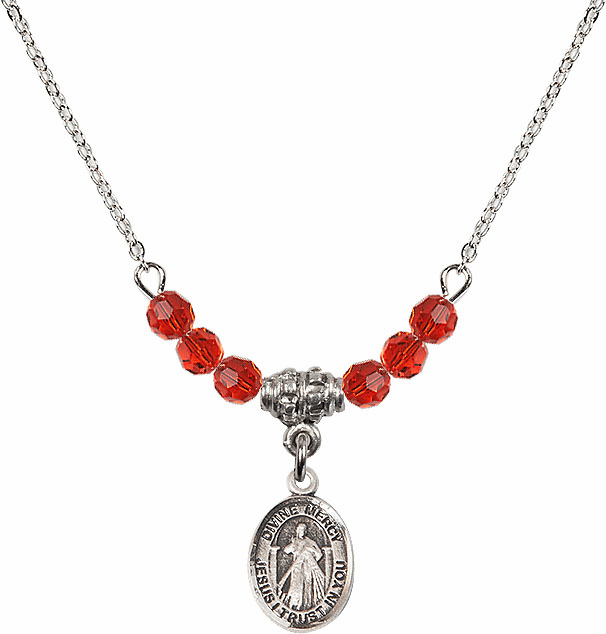 Sterling Silver Jesus Divine Mercy Sterling July Ruby 4mm Swarovski Crystal Necklace by Bliss Mfg