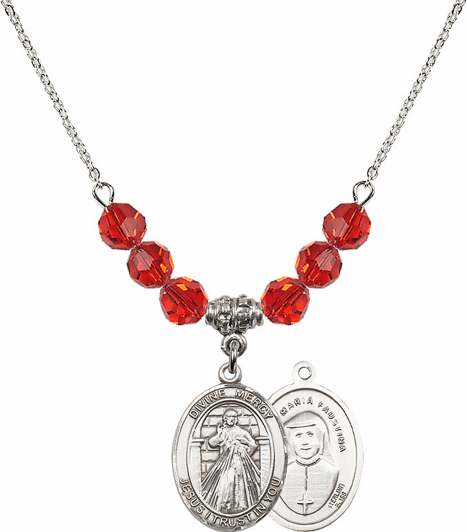Sterling Silver Jesus Divine Mercy Sterling July Ruby Swarovski Crystal Beaded Necklace by Bliss Mfg