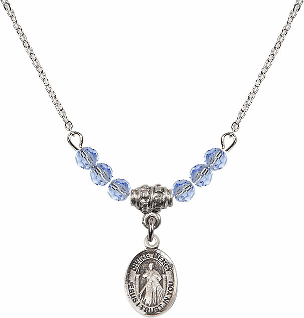Sterling Silver Jesus Divine Mercy Sterling Lt Sapphire 4mm Swarovski Crystal Necklace by Bliss Mfg