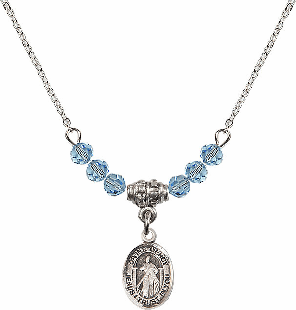 Sterling Silver Jesus Divine Mercy Sterling March Aqua 4mm Swarovski Crystal March Aqua Necklace by Bliss Mfg