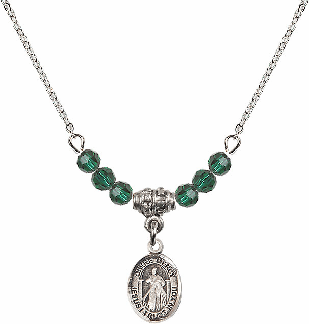 Sterling Silver Jesus Divine Mercy Sterling May Emerald 4mm Swarovski Crystal Necklace by Bliss Mfg