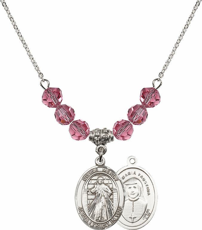 Sterling Silver Jesus Divine Mercy Sterling October Rose Swarovski Crystal Beaded Necklace by Bliss Mfg