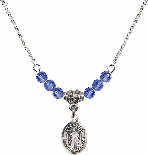 Sterling Silver Jesus Divine Mercy Sterling September Sapphire 4mm Swarovski Crystal Necklace by Bliss Mfg