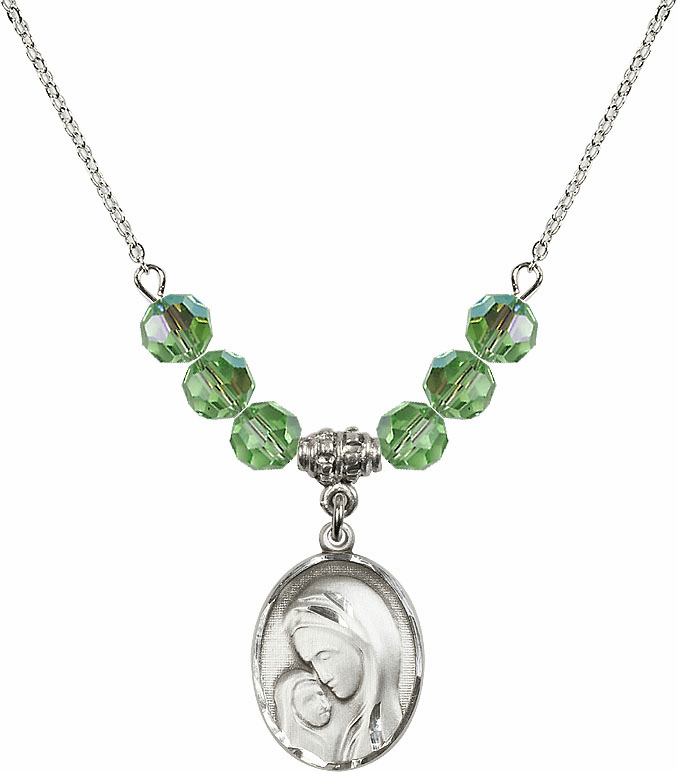 Sterling Silver Madonna and Child Sterling August Peridot Swarovski Crystal Beaded Necklace by Bliss Mfg