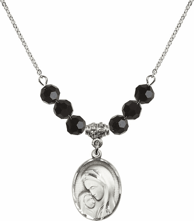 Sterling Silver Madonna and Child Sterling Black Jet Swarovski Crystal Beaded Necklace by Bliss Mfg