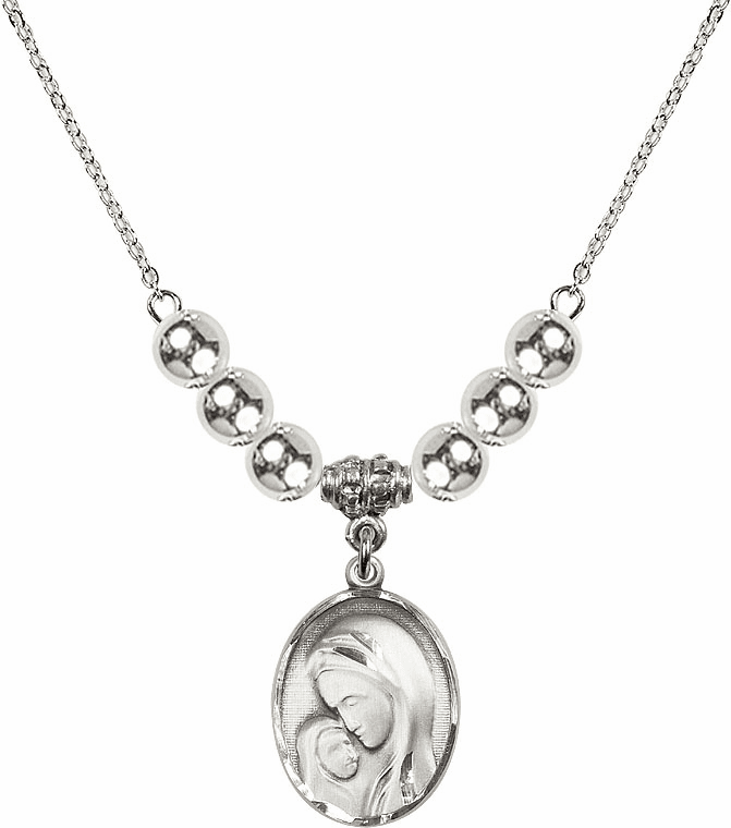 Sterling Silver Madonna and Child Sterling Charm w/Silver Beads Necklace by Bliss Mfg