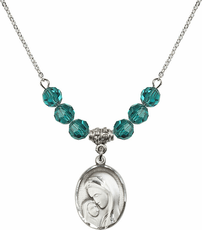 Sterling Silver Madonna and Child Sterling December Zircon Swarovski Crystal Beaded Necklace by Bliss Mfg