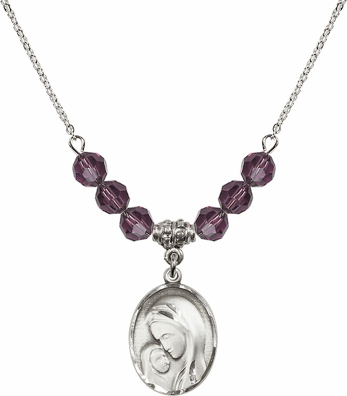 Sterling Silver Madonna and Child Sterling February Amethyst Swarovski Crystal Beaded Necklace by Bliss Mfg