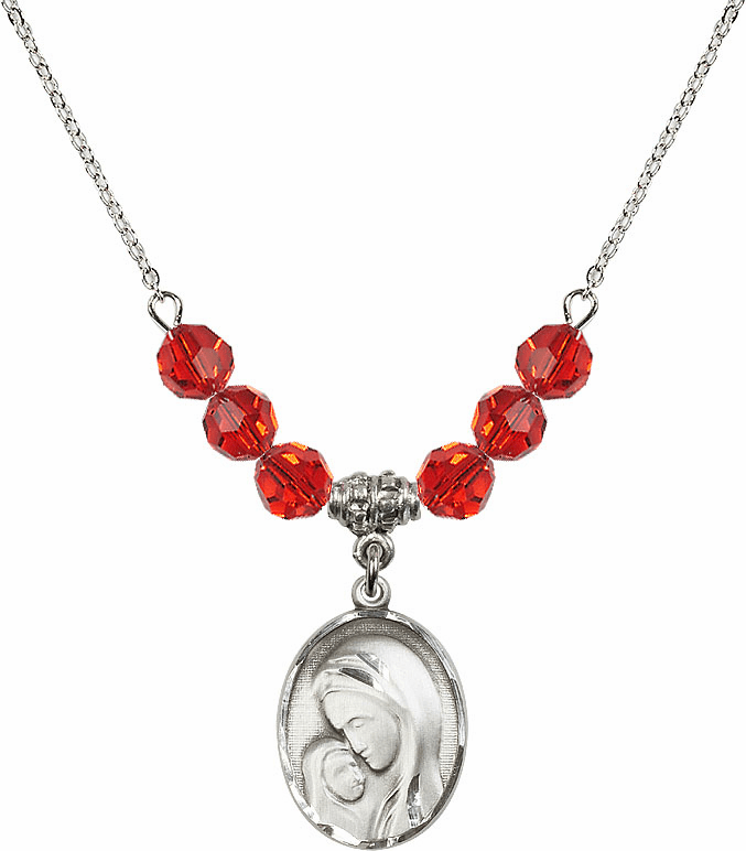 Sterling Silver Madonna and Child Sterling July Ruby Swarovski Crystal Beaded Necklace by Bliss Mfg