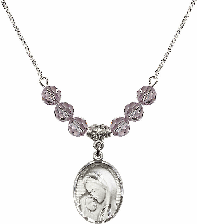 Sterling Silver Madonna and Child Sterling June Lt Amethyst Swarovski Crystal Beaded Necklace by Bliss Mfg