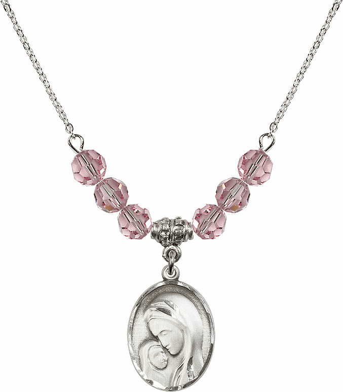 Sterling Silver Madonna and Child Sterling Lt Rose Swarovski Crystal Beaded Necklace by Bliss Mfg