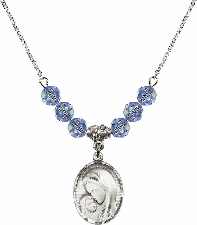 Sterling Silver Madonna and Child Sterling Lt Sapphire Swarovski Crystal Beaded Necklace by Bliss Mfg