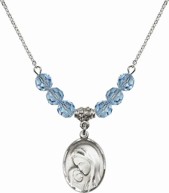 Sterling Silver Madonna and Child Sterling March Aqua Swarovski Crystal Beaded Necklace by Bliss Mfg