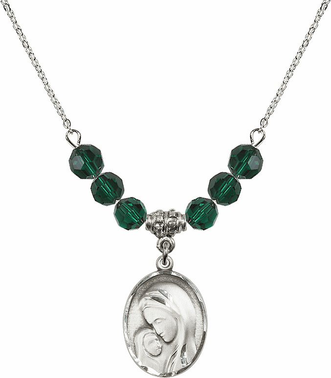 Sterling Silver Madonna and Child Sterling May Emerald Swarovski Crystal Beaded Necklace by Bliss Mfg